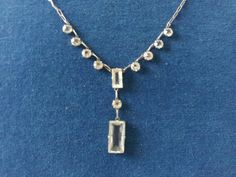 Vintage Silver and Open Back Glass Crystal 1920s Flapper Gatsby Era Necklace