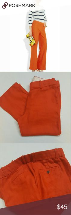 J. Crew orange linen pants J. Crew orange linen pants in perfect condition like new J.Crew  Pants