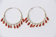 Boucles d'oreilles corail rouge véritable et argent massif : Boucles d'oreille par les-tresors-de-la-corse
