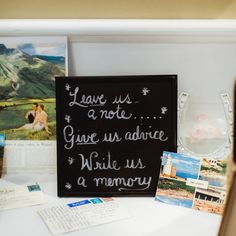 Instead of a traditional guestbook, the newlyweds asked loved ones to write their well wishes on postcards from Michigan (where they're from), Boston (where they live now) and Scotland (where they got engaged).