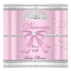 Baby Shower Girl White Pink Princess Tiara Bow