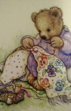 Mary Hamilton Sewing Bear