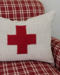Image of Red Cross Pillow x . Love Your Life, Peace And Love, Good Week, Red Cross, Red Riding Hood, Red And White, Throw Pillows, Bed, Handmade
