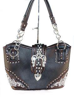 Concealed Carry CCW Handbag / Embroidery & Rhinestone Buckle - Black $59.99 + Free Shipping! wantedwardrobe.net wantedwardrobe.com #shop #CCW #fashion #handbags #western #wantedwardrobe