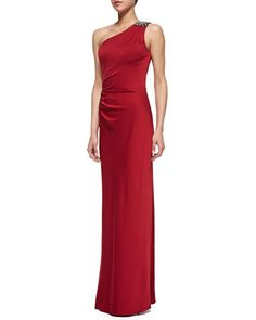 One-Shoulder Gown, Ruby by Aidan Mattox at Neiman Marcus.