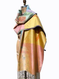 Large Silk Ikat Shawl Throw Pastel