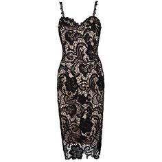 Honey Couture Black & Nude Thin Strap Lace Lover Midi Dress ($149) ❤ liked on Polyvore featuring dresses, lace overlay dress, sweetheart bridesmaid dresses, sweetheart neckline cocktail dress, midi cocktail dress and mid calf dresses
