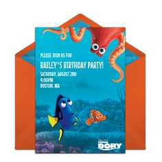 Customizable, free Finding Dory Friends online invitations. Easy to personalize and send for a Finding Dory Birthday Party. #punchbowl
