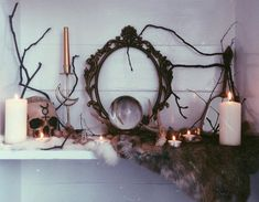 candles, decor, and goth image