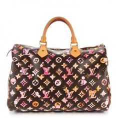 This is an authentic LOUIS VUITTON Watercolor Aquarelle Speedy 35 in Brown. This limited edition tote is created out of traditional Louis Vuitton monogram on toile canvas with an offset printed layer of watercolor monogram in reds, oranges, yellows and purples.