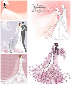 Bride and groom wedding illustrations vector Wedding Images, Wedding Designs, Wedding Couples, Wedding Bride, Bride Silhouette, Vintage Wedding Cards, Flower Background Wallpaper, Wedding Illustration, Wedding Scrapbook