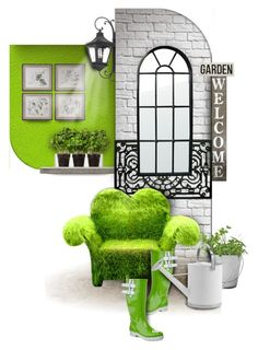 """""""Greenery garden"""" by kseniz13 ❤ liked on Polyvore featuring interior, interiors, interior design, home, home decor, interior decorating, Zone, Boskke, Lyon Béton and ELK Lighting"""