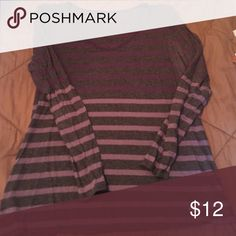 Charcoal grey LS tee w purple stripes Cotton AO Calvin Klein Tops Tees - Long Sleeve