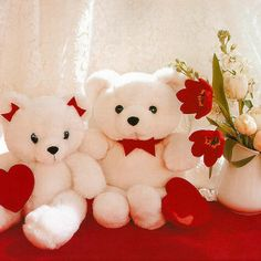 Lovely teddy bears with flower pot images