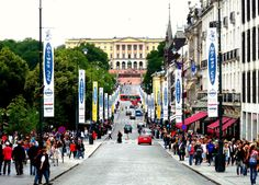 Oslo, Norway. On the right hand side of this street is the most incredible bakery. I loved it!
