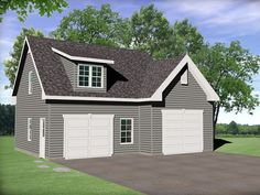 Two car garage plan with vaulted ceiling on one side to make room for an auto lift. 2 Car Garage Plans, Garage Plans With Loft, Garage Roof, Barn Garage, Garage Ideas, Garage Studio, Dream Garage, Shed Plans, House Plans
