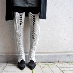 Thigh High Lace Up Leg Warmers in Very Light Grey #fashion #leg_warmers #knitting