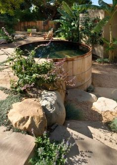 Dreaming of a hot tub for Degas Deck at Jack's Cabin on the creek ------ San Roque, CA Family's Rustic Barrel Hot Tub Designed by Grace Design Associates Inc. in Santa Barbara, CA Jacuzzi Outdoor, Outdoor Spa, Outdoor Gardens, Outdoor Living, Backyard Patio Designs, Backyard Landscaping, Backyard Ponds, Landscape Design, Garden Design