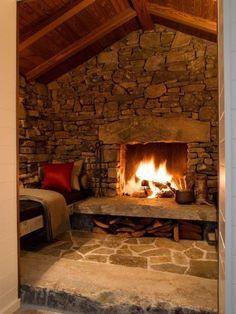 So cozy! Like the full stone wall.