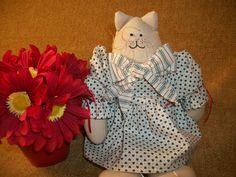 Muslin Cat Doll Handcrafted Cat Country Kitten by TKSPRINGTHINGS, $13.95