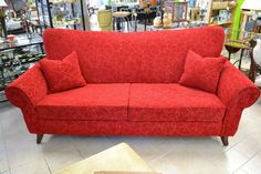 """Vintage Inspired Ruby Red Sofa with Scrolled Arms - """"VERY comfortable Red Sofa, Ruby Red, Home Furnishings, Vintage Inspired, Love Seat, Singing, Arms, Couch, Lady"""