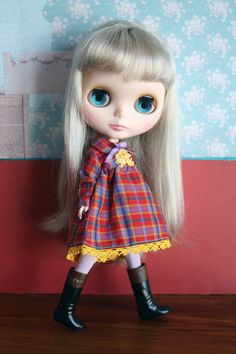 Blythe Vintage Cute Tartan Dress Set by cmondolly on Etsy