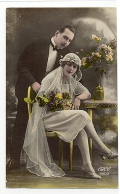 Vintage Wedding Postcard, ca. Images Vintage, Vintage Wedding Photos, 1920s Wedding, Vintage Bridal, Vintage Pictures, Wedding Pictures, Vintage Weddings, French Wedding, Wedding Shot