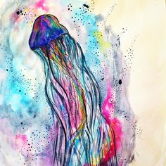 gellyfish, art, draw, illustration, watercolor