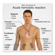 Acute Intravascular Hemolytic (immune) Transfusion Reaction.  Caused usually by clerical errors. ABO or other erythrocyte antigen-antibodies are mislabeled.  Signs/symptoms: hemoglobinemia and heoglobinuria, fever, chills, anxiety, shock, DIC, dyspnea, chest pain, flank pain, nausea/vomiting, headache, pain at needle site and along venous track.  Treatment: STOP transfusion, hydrate, support BP and respiration, induce diuresis, treat shock and DIC.