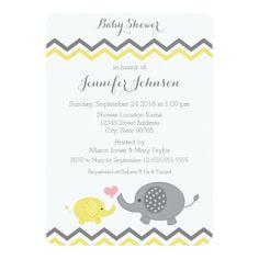 Elephant Baby Shower Invite   Yellow Gray Chevron