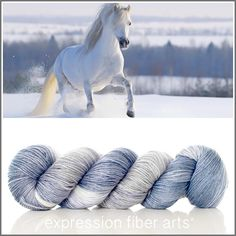Expression Fiber Arts, Inc. - SPUNK 'LUSTER' SUPERWASH MERINO TENCEL SPORT  dreamy blue, silver and ivory - Always keep your sense of adventure and never lose touch with your wild, free spirit.