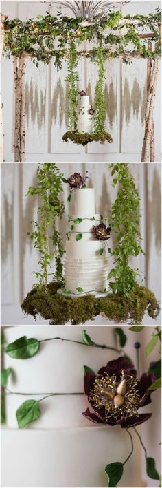 Moss, wedding cake, suspended display, hanging cake, wedding décor // Mojica Photography