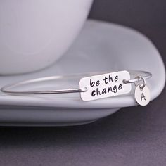 Be the Change Jewelry Personalized Sterling Bangle Bracelet by georgiedesigns