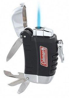 Coleman Multi-Tool Lighter Sure, you can use your lighter to pop open beers but Coleman's multi-tool lighter adds a few more tricks. It's a refillable weatherproof torch that also sports a stainless steel knife, can opener, saw and file. Survival Mode, Camping Survival, Outdoor Survival, Survival Prepping, Survival Skills, Survival Essentials, Survival Items, Camping Essentials, Camping Tools