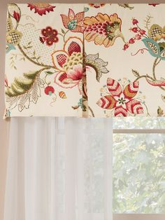 The Jacobean Floral Rod Pocket Pleated Valance from The Vermont Country Store has a classic floral pattern and is exquisitely tailored. Tie Up Valance, Balloon Valance, Rod Pocket Curtains, Hanging Curtains, Valance Curtains, Window Valances, Kitchen Curtains, Kitchen Window Treatments, Custom Window Treatments