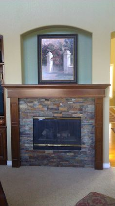 Cherry fireplace Mantel with raise fireplace like ours