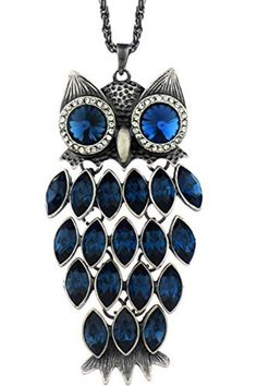 Neoglory Blue Crystal Made with Swarovski Elements Vintage Owl Pendant Necklace Charm Jewelry 35.4 by neoglory -- Awesome products selected by Anna Churchill