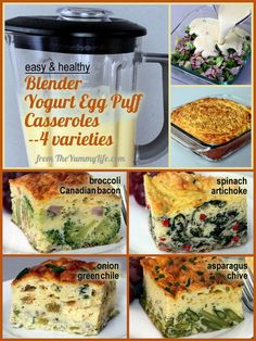 4 Easy and Healthy Blender Yogurt Egg Puff Casseroles are perfect for breakfast or brunch. Under 150 calories with make-ahead convenience! Choose from broccoli and canadian bacon, green chili and onion, spinach and artichoke, asparagus and chives. Freeze individual servings, and reheat in the microwave for a quick breakfast. From TheYummyLife.com.