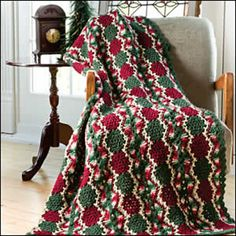 Crochet - Afghans & Throws - Afghans & Lapghans Victorian colors and vintage style give this elegant holiday throw a nostalgic, old-world charm. Crochet with worsted-weight yarn using U. Size: x Skill Level: Intermediate Christmas Crochet Blanket, Christmas Afghan, Christmas Crochet Patterns, Holiday Crochet, Christmas Stocking, Love Crochet, Vintage Crochet, Knit Crochet, Crochet Crafts