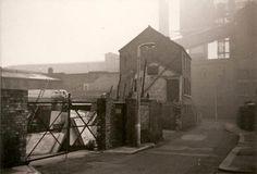 Narrow road, yard on left, looking towards High Street, gas works ahead Distillery Road Brentford Brentford, Distillery, The Past, Yard, London, Street, Patio, Courtyards, Walkway