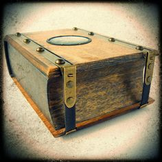Handmade wooden journal with glass detail & a lot of brass elements. Wooden Books, Handmade Wooden, Old Town, Suitcase, Glass, Moulding, Leather, Book Covers, Journals