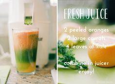 orange, carrot, kale juicing recipe , so yummy Kale Juice, Juice Smoothie, Smoothie Drinks, Detox Drinks, Smoothie Recipes, Healthy Juices, Healthy Smoothies, Healthy Drinks, Healthy Recipes