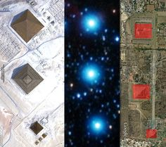 Ancient Alien visit to earth? Giza, Orion, Teotihuacán . Notice how the pyramids of Egypt, South America and the stars all line up to the same formation.