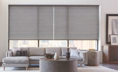 Simple and sleek! Check out these Designer Roller Shades made by Hunter Douglas. Can check them out in our show room!