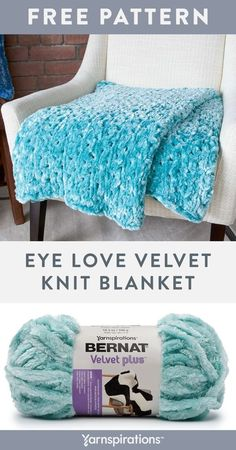 Free Eye Love Velvet Knit Blanket pattern using Bernat Velvet Plus yarn. Pamper yourself with this easy knit throw pattern which will teach you knit, purl, and yarn over eyelets techniques. It's a lavish layer of airy comfort so lay it over the bed, or watch it brighten up a plain piece of furniture with ease. #Yarnspirations #FreeKnitPattern #KnitAfghan #KnitThrow #KnitBlanket #BernatYarn #BernatVelvetPlus Knitted Throw Patterns, Knitted Afghans, Knitted Blankets, Knitting Patterns Free, Knitting Ideas, Crochet Patterns, Crochet Yarn, Knitting Yarn, Bernat Yarn