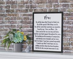 Wooden Framed Sign for Mom Mother's Day gift Thank You   Etsy Mothers Day Quotes, Mothers Day Cards, Mom Quotes, Thank You Mom, I Love You Mom, My Love, Cool Diy, Mother's Day Card Messages, Signs For Mom