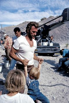 """""""Clint Eastwood on the set with his son Kyle, Photo by Douglas Jones. Clint And Scott Eastwood, Actor Clint Eastwood, Hollywood Icons, Classic Hollywood, Old Hollywood, Christina Hendricks, Douglas Jones, Cinema Tv, Action Movies"""