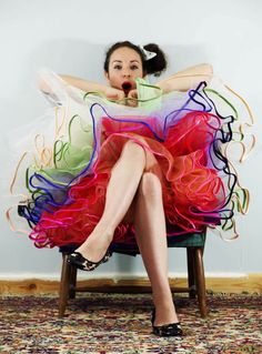 featured on Rock and Roll Bride. Multicolour tulle wedding petticoat.