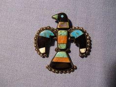 Antique Native American Silver Native Stone Thunderbird Pin | eBay