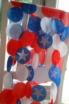 Tissue Paper Garland, Party Garland, Birthday Garland, Super Hero Garland, Fourth of July Garland - America on Etsy, $10.50